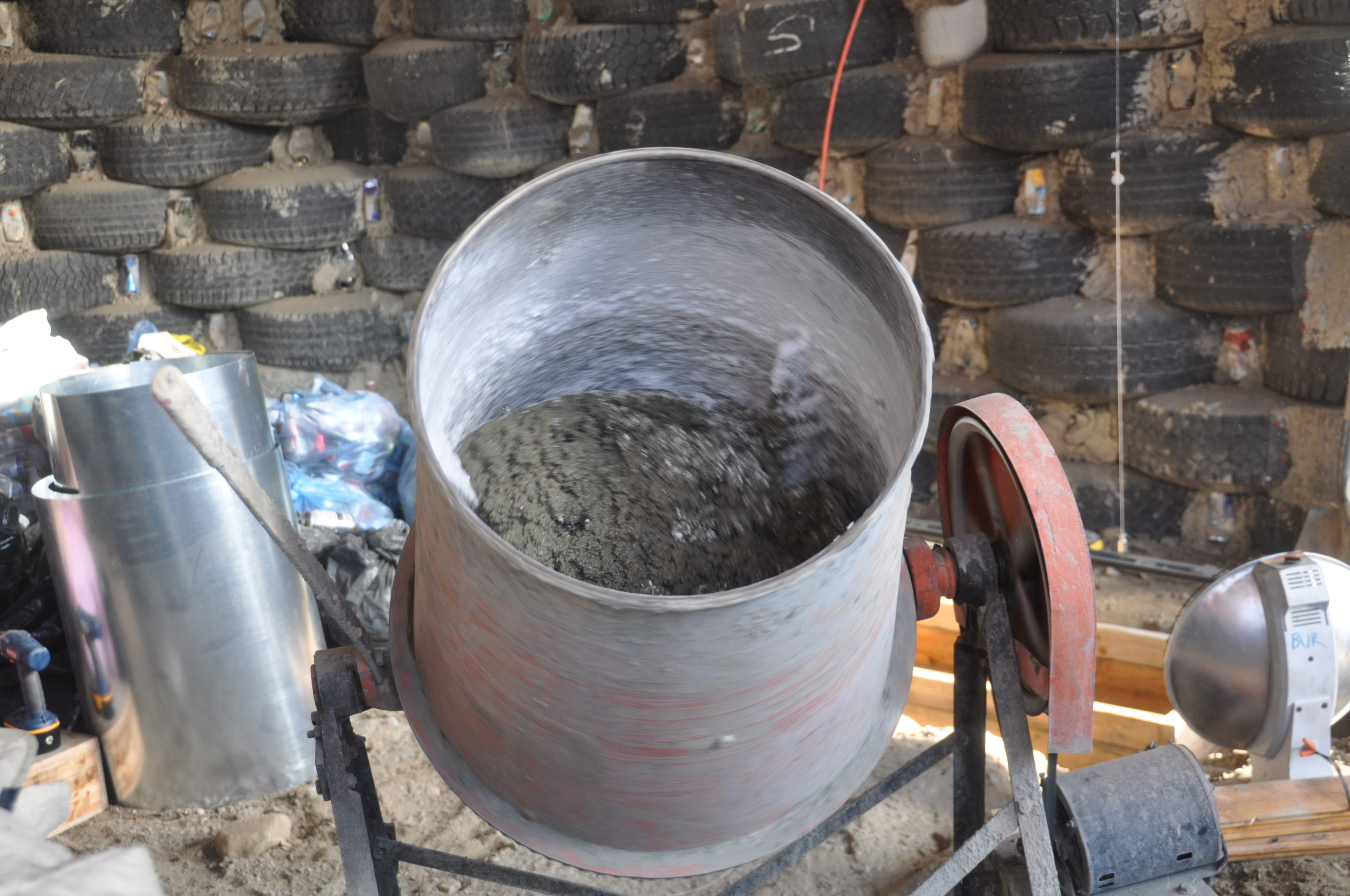 Footing poured for the rocket mass heater darfield earthship